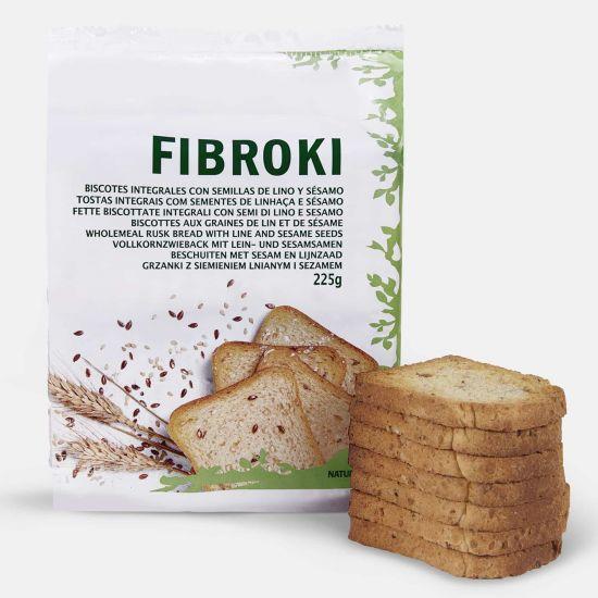 Pan de lino y sésamo con fibra - Biscotes Fibroki